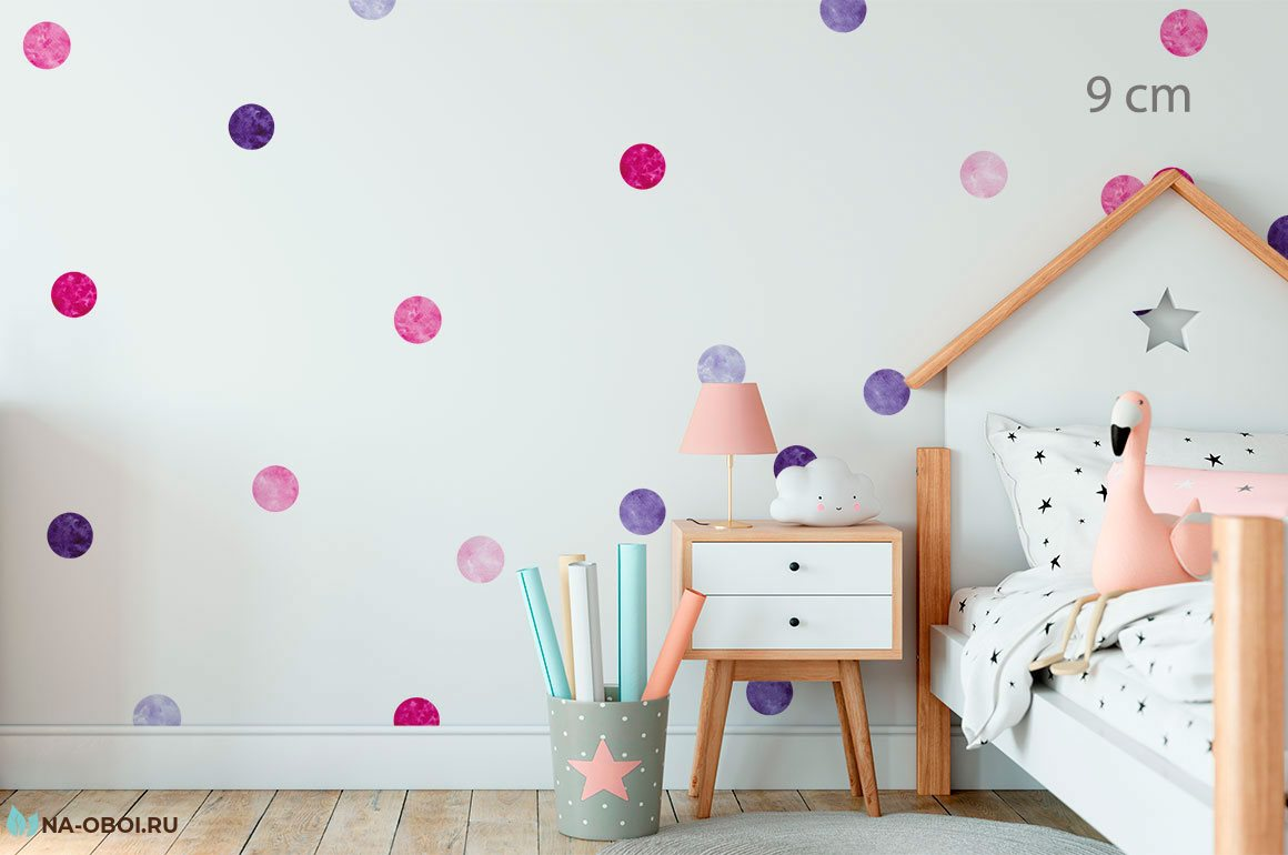 Круги наклейки для оформления и декора детской комнаты фото 2