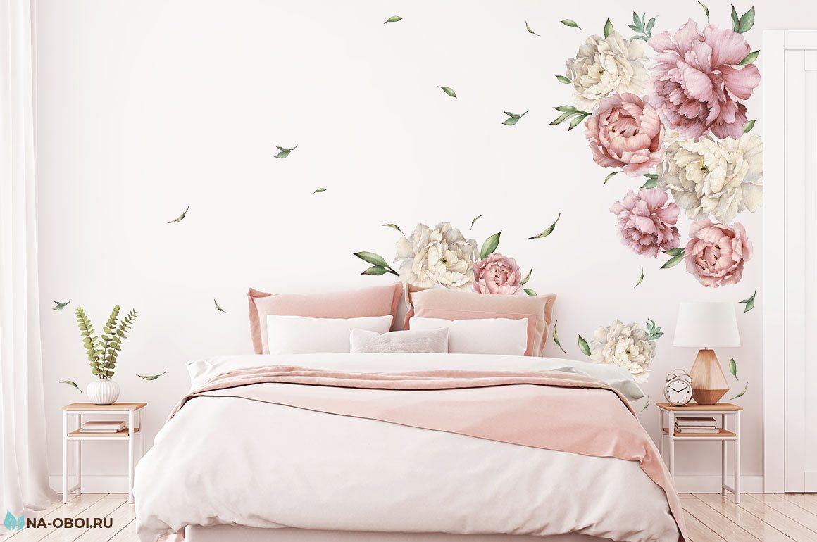 наклейка в интерьере розовые цветы пионы