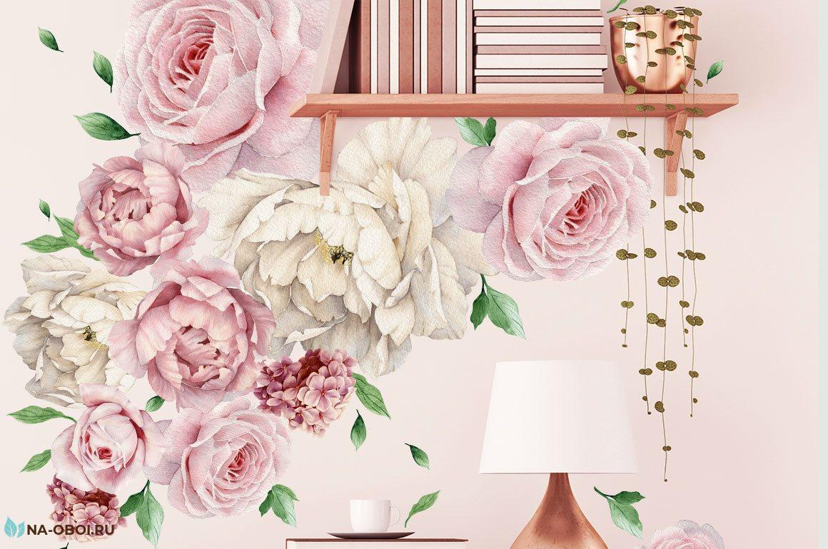 наклейка в интерьере с розовыми розами